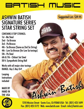 Ashwin Batish Signature Series Sitar Strings Set Image. Copyright �2003 Ashwin Batish.